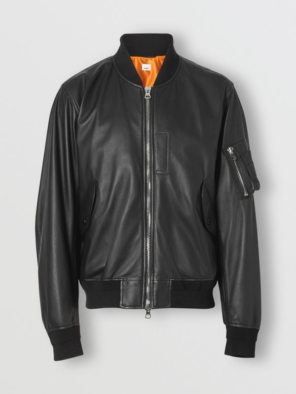 Lambskin Bomber Jacket in Black - Men | Burberry - cell image 3