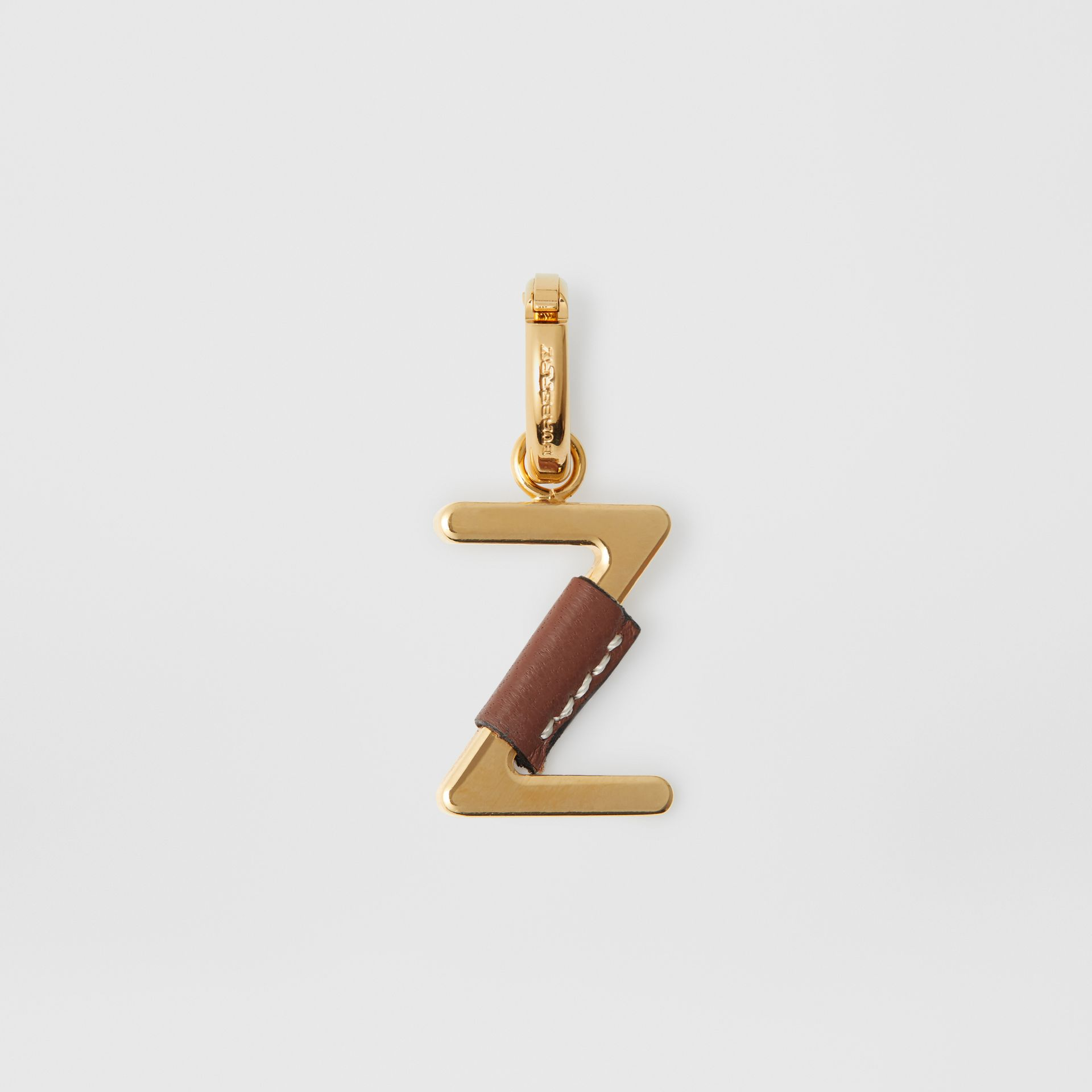 Leather-wrapped 'Z' Alphabet Charm in Light Gold/tan - Women | Burberry Australia - gallery image 0