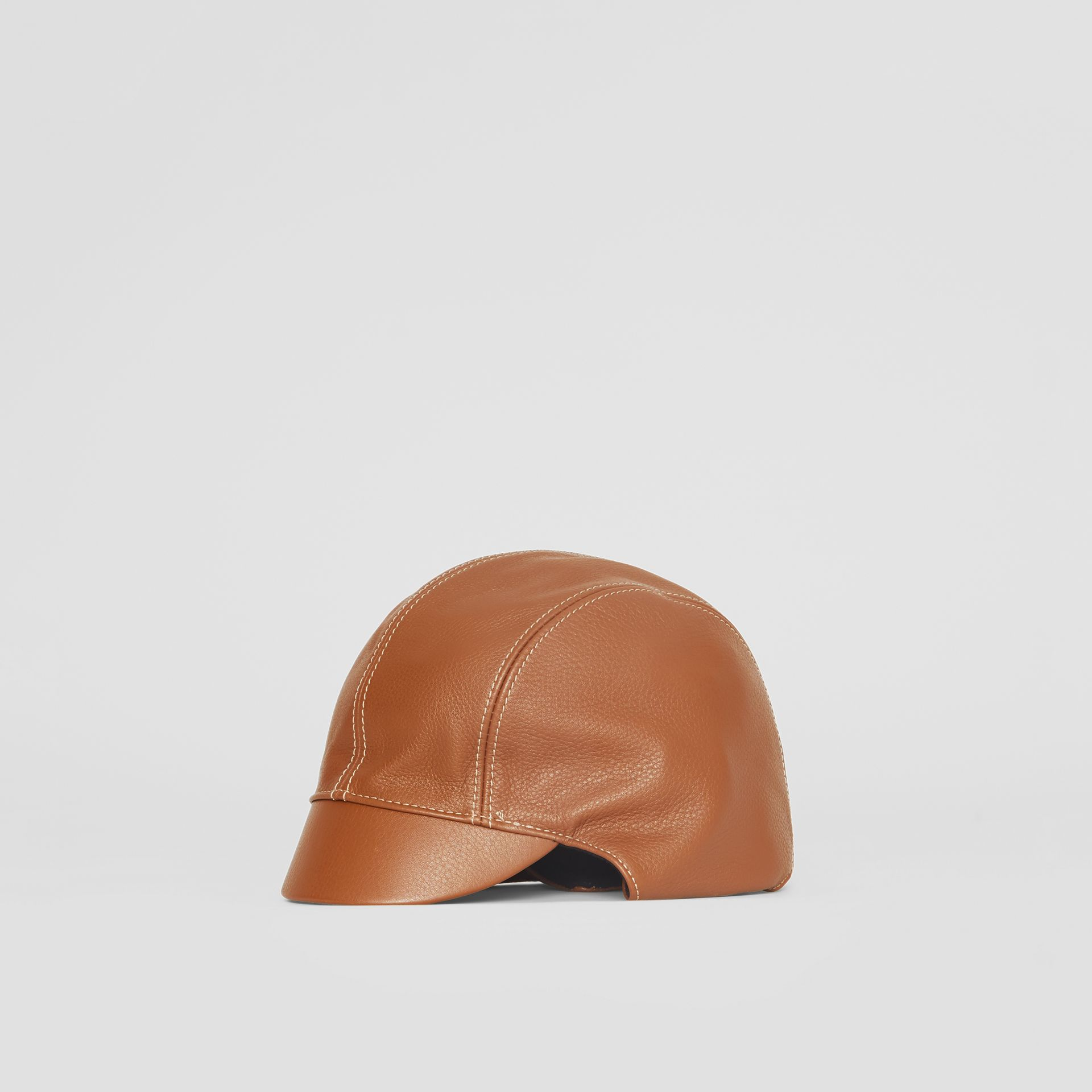 Leather Pilot Cap in Toffee | Burberry United Kingdom - gallery image 4