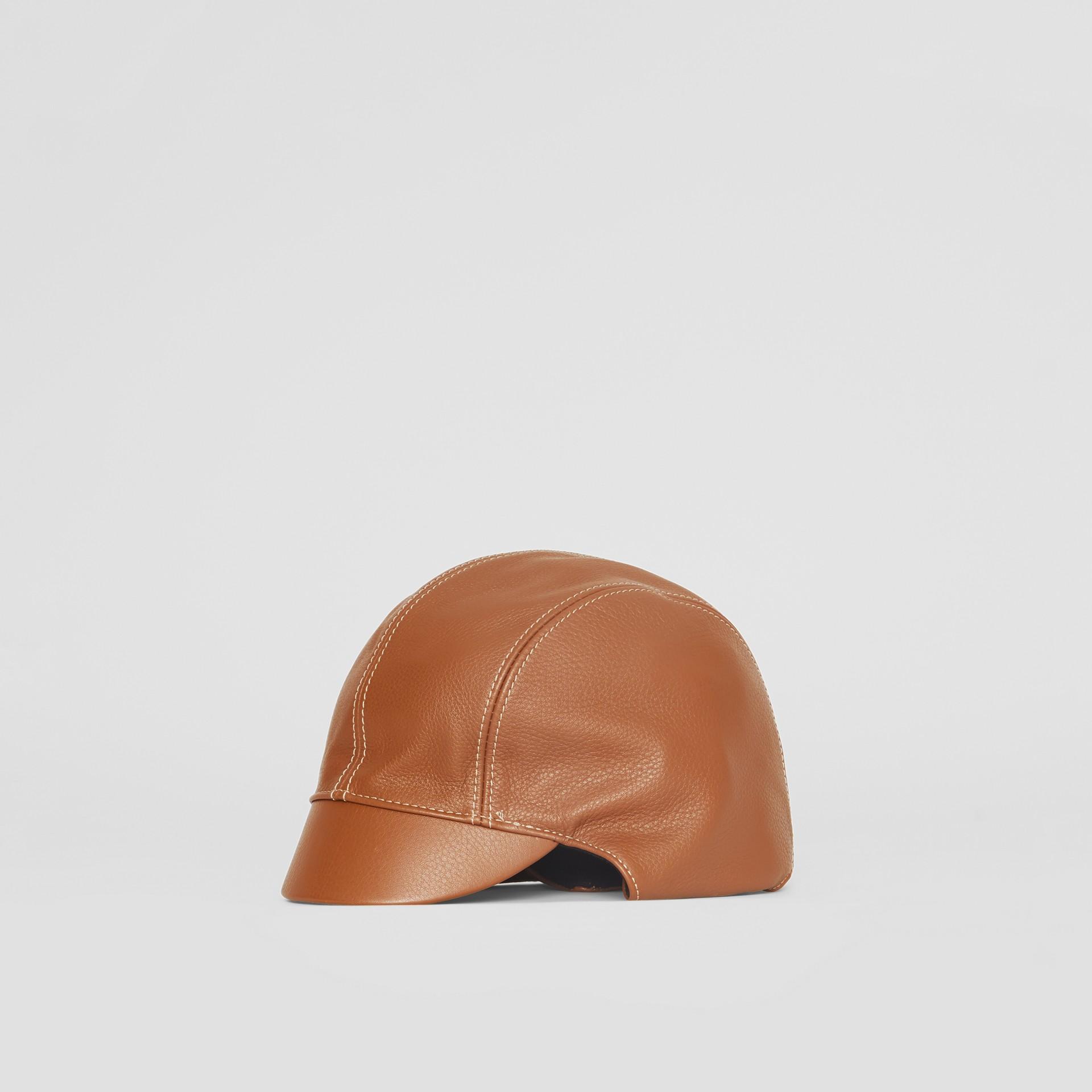 Chapéu de piloto de couro (Toffee) | Burberry - galeria de imagens 4