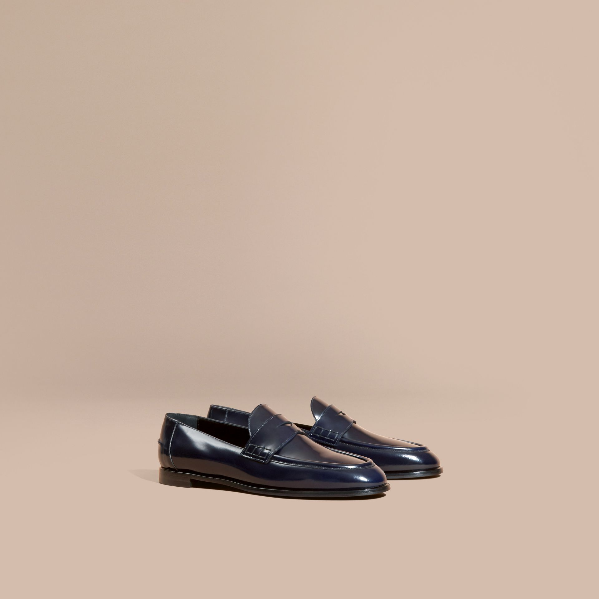 Ink blue Polished Leather Loafers Ink Blue - gallery image 1