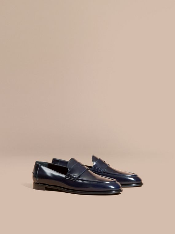 Polished Leather Loafers Ink Blue