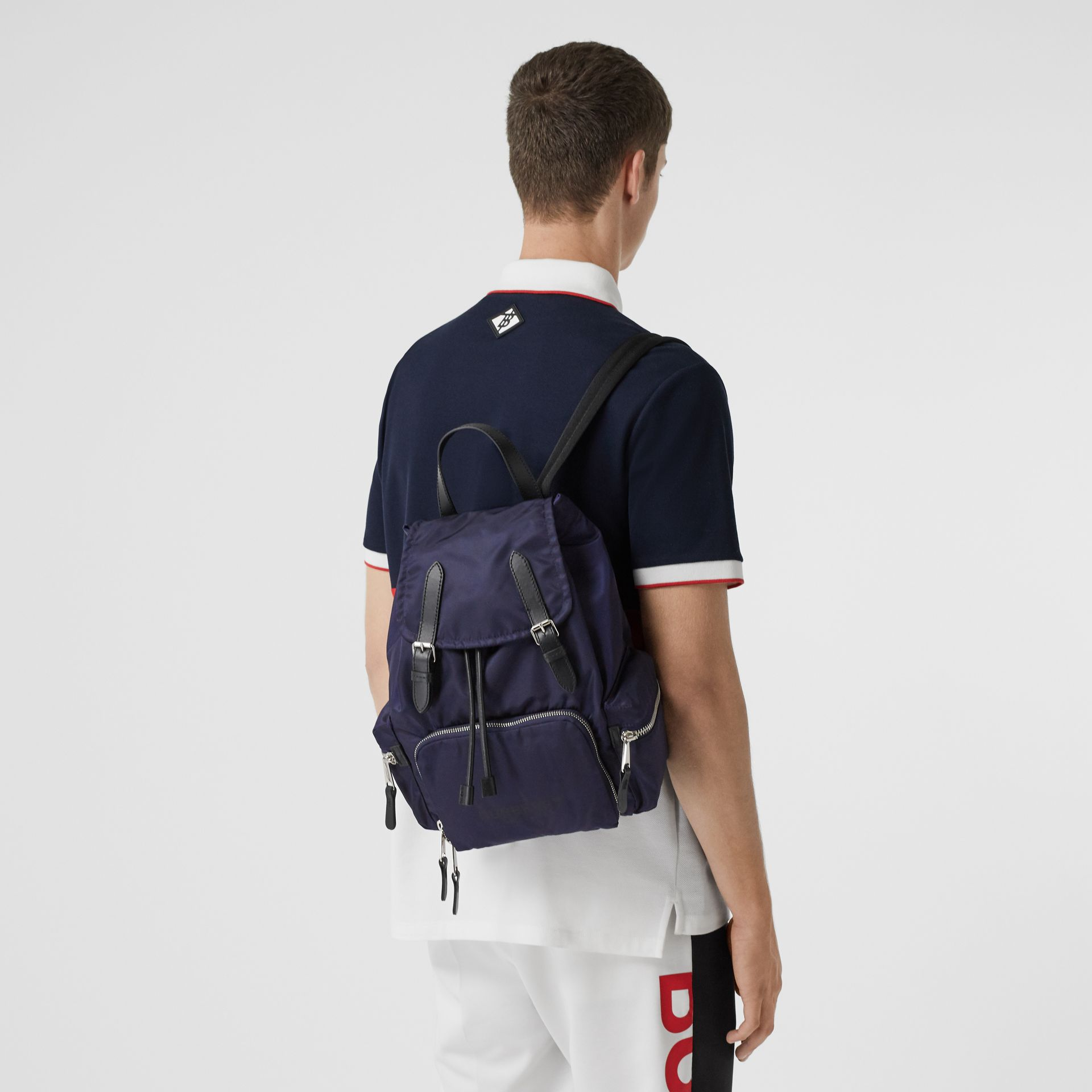 The Medium Rucksack in Logo Print ECONYL® in Navy - Women | Burberry Canada - gallery image 2