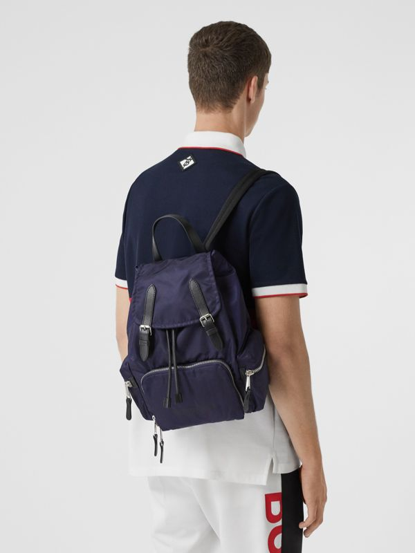 The Medium Rucksack in Logo Print ECONYL® in Navy - Women | Burberry Canada - cell image 2
