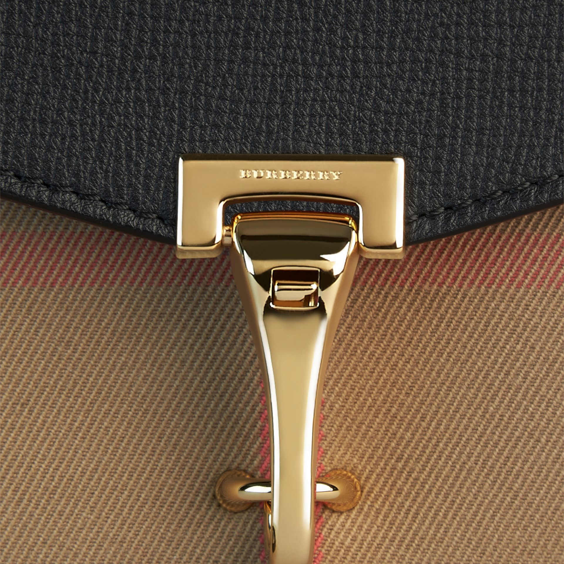 Small Leather and House Check Crossbody Bag in Black - Women | Burberry Canada - gallery image 2