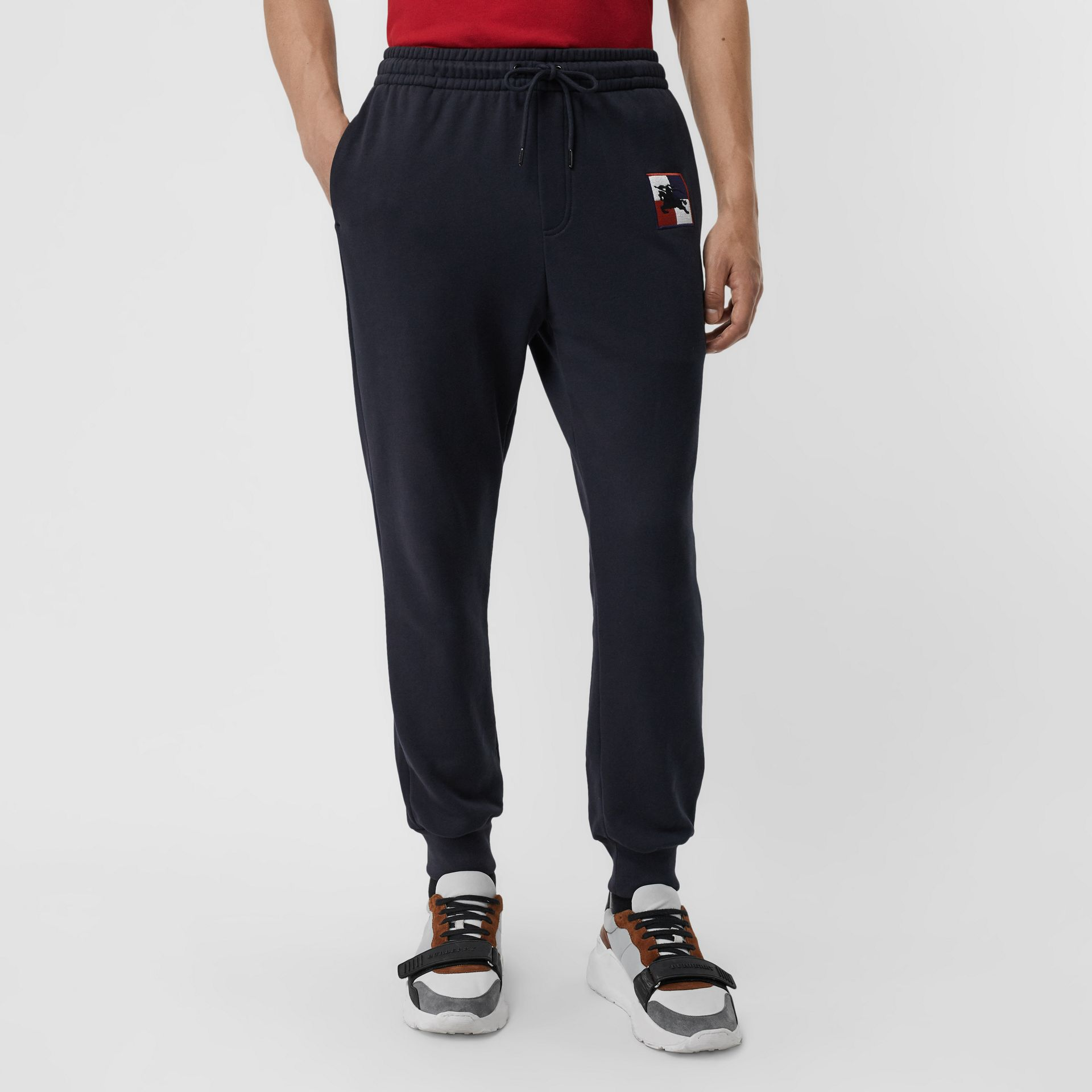 Chequer EKD Cotton Trackpants in Navy - Men | Burberry Australia - gallery image 4