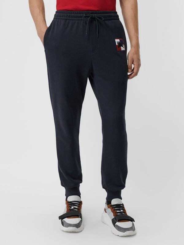 Chequer EKD Cotton Trackpants in Navy - Men | Burberry - cell image 3
