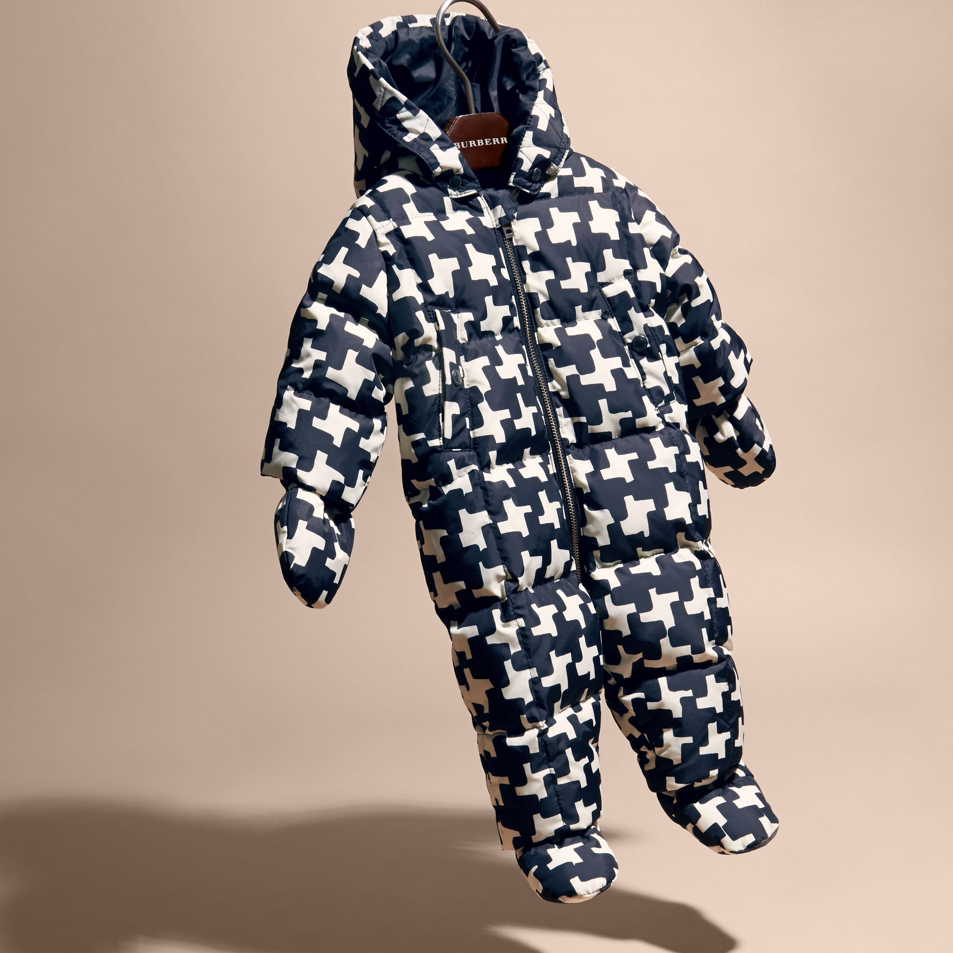 Natural white Houndstooth Print Down-filled Puffer Suit - gallery image 3