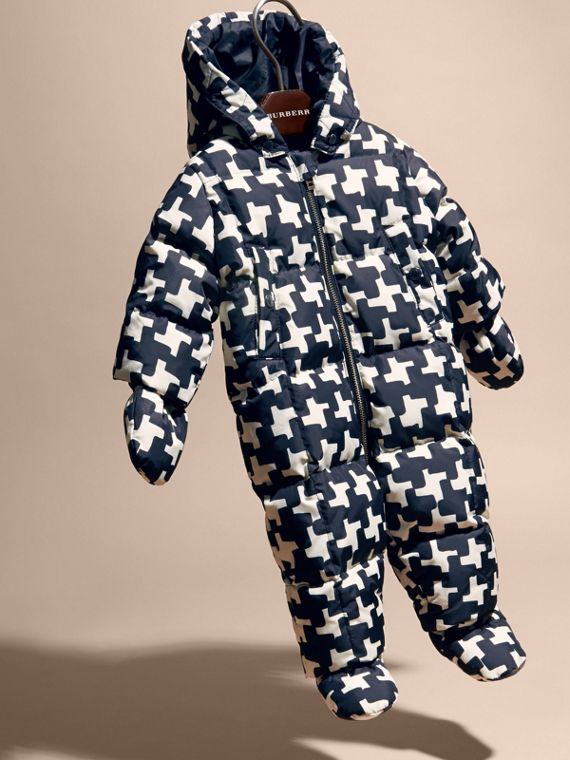 Natural white Houndstooth Print Down-filled Puffer Suit - cell image 2