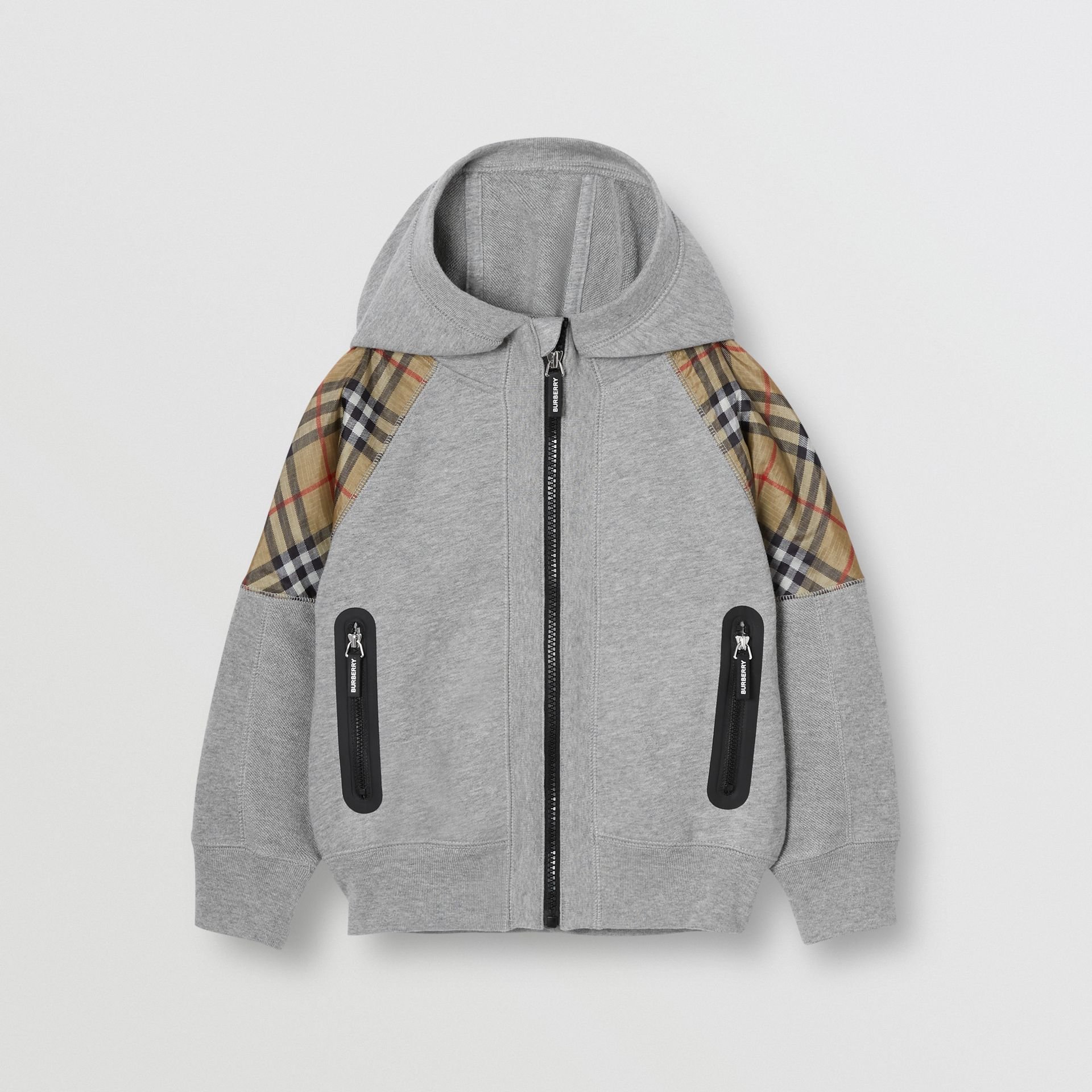 Vintage Check Panel Cotton Hooded Top in Grey Melange | Burberry - gallery image 0