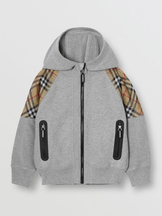 Vintage Check Panel Cotton Hooded Top in Grey Melange