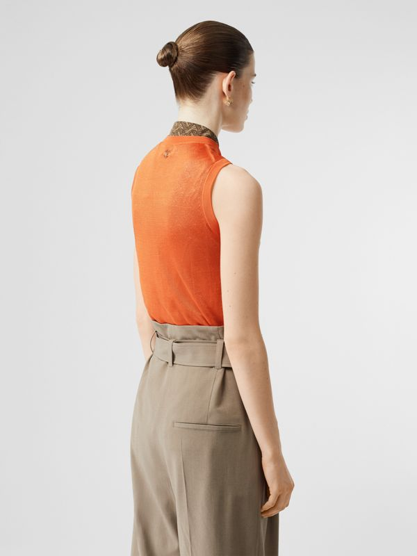 Monogram Motif Pointelle Knit Vest in Orange - Women | Burberry - cell image 2