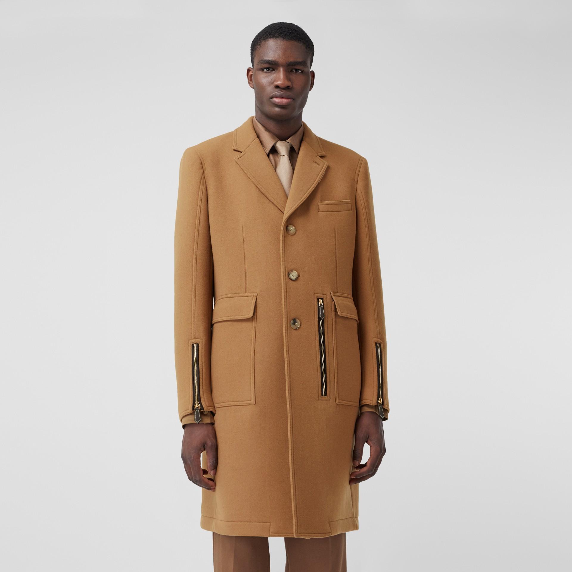 Zip Detail Wool Tailored Coat in Warm Camel - Men | Burberry - gallery image 6