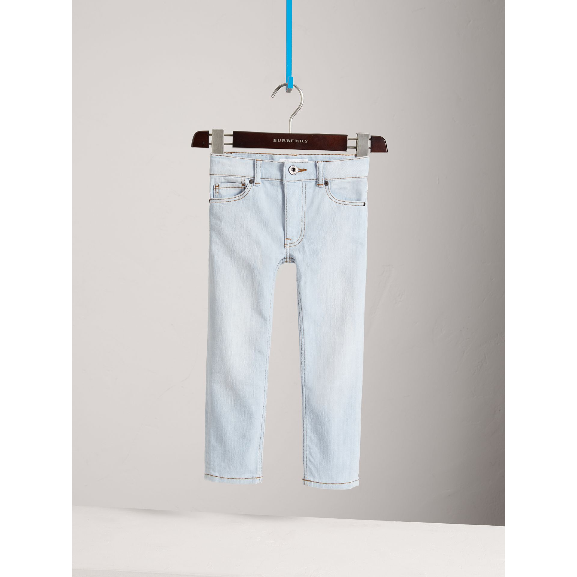 Skinny Fit Stretch Jeans in Light Blue - Boy | Burberry - gallery image 2