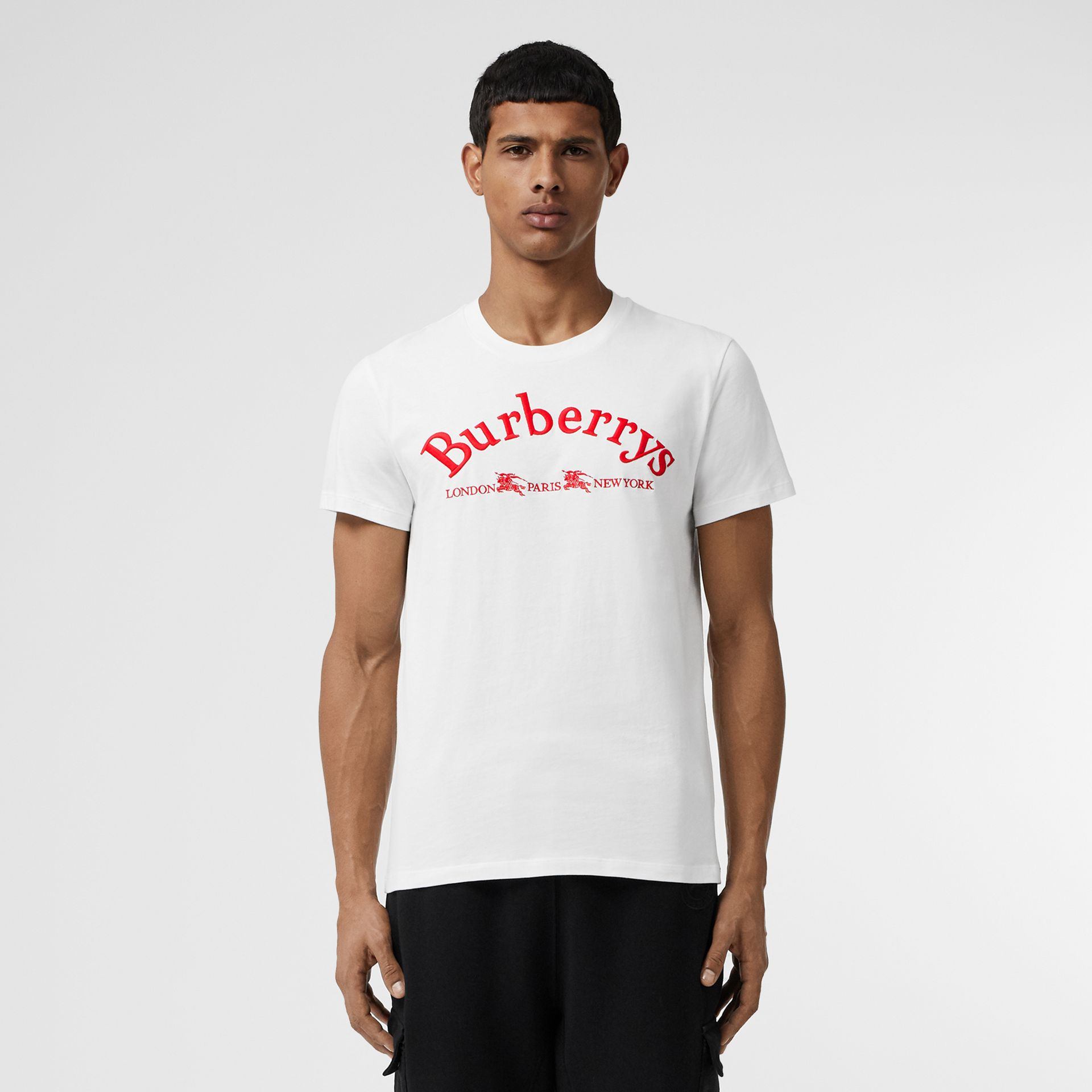 Archive Logo Cotton T-shirt in White - Men | Burberry - gallery image 4