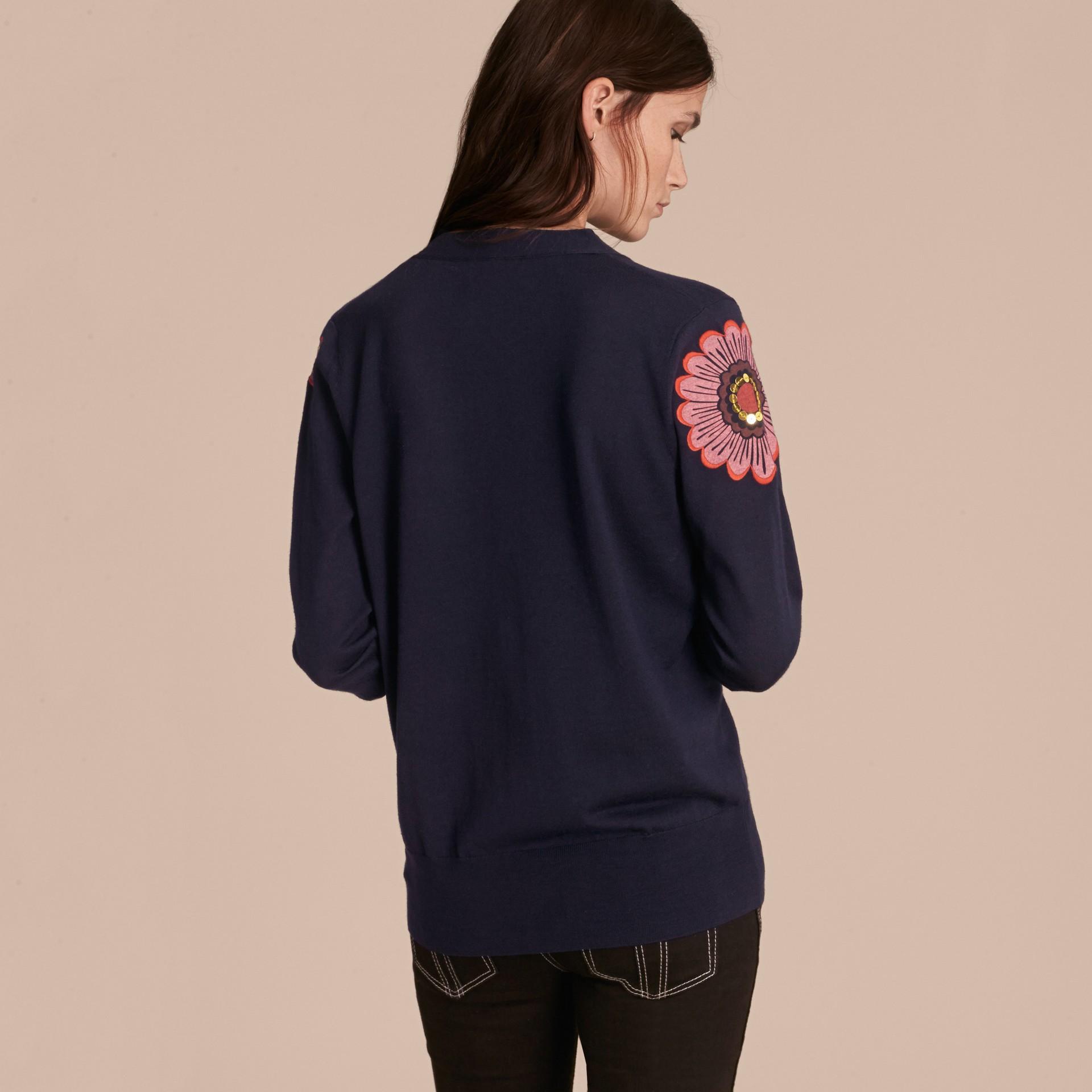 Navy Floral-embellished Merino Wool Cardigan - gallery image 3