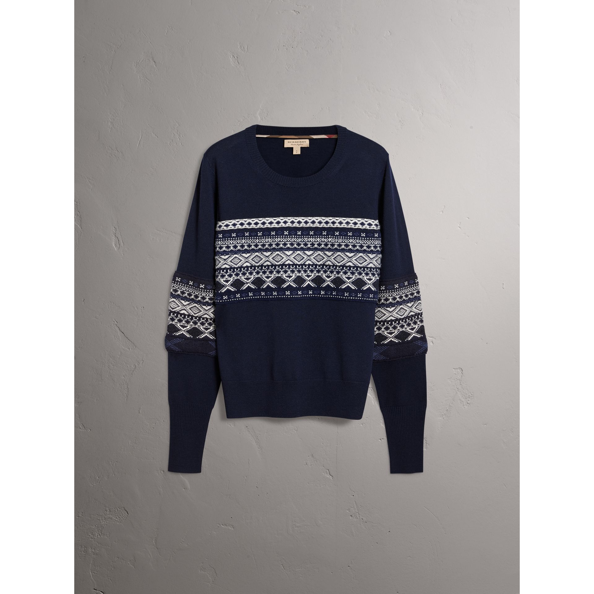 Fair Isle Detail Merino Wool Sweater in Navy - Women | Burberry - gallery image 3
