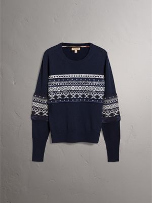 Fair Isle Detail Merino Wool Sweater in Navy - Women | Burberry ...