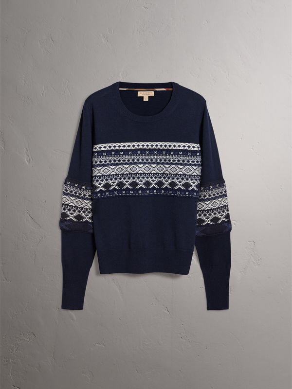 Fair Isle Detail Merino Wool Sweater in Navy - Women | Burberry - cell image 3