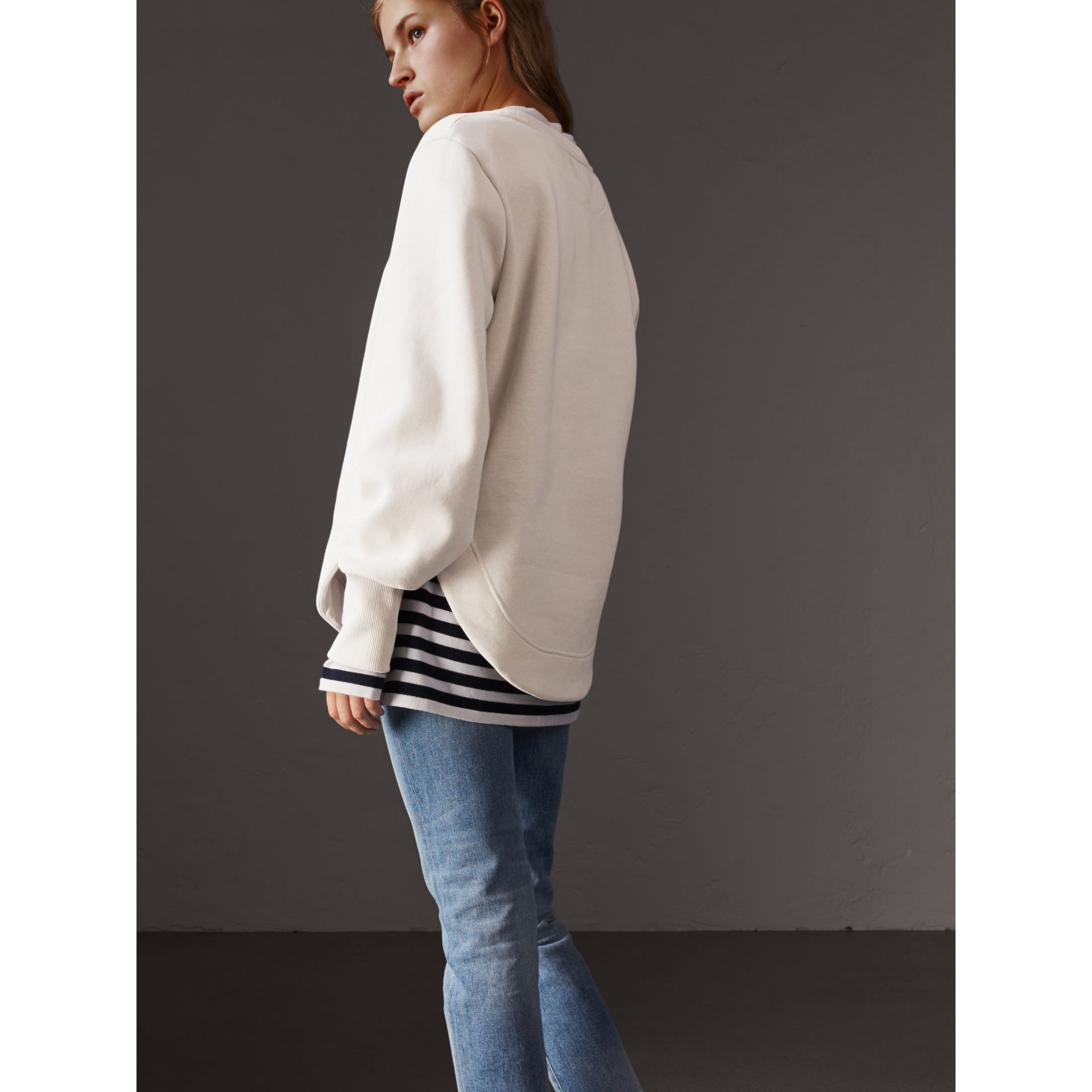 Curved Hem Jersey Sweatshirt in Winter White - Women | Burberry - gallery image 3