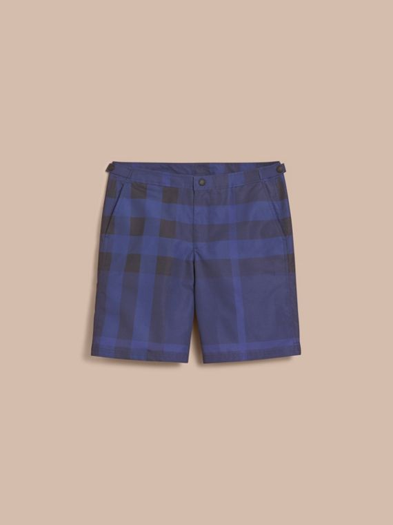 Tailored Check Technical Swim Shorts Dark Navy