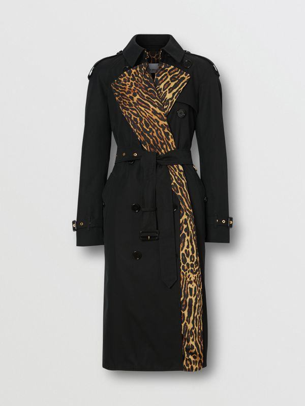 Leopard Print-lined Cotton Gabardine Trench Coat in Black - Women | Burberry United Kingdom - cell image 3
