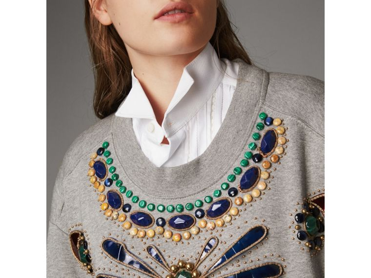 Gem-embellished Jersey Sweatshirt in Pale Grey Melange - Women | Burberry - cell image 1