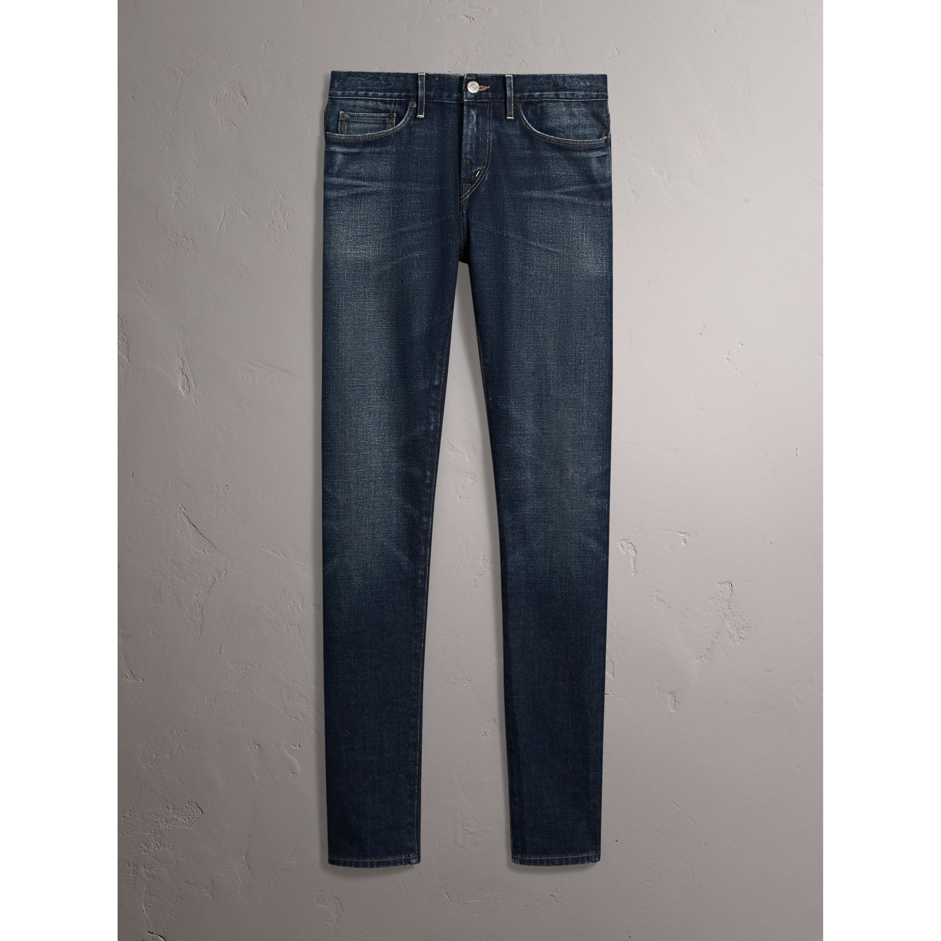 Skinny Fit Brushed Stretch Denim Jeans in Vintage Blue - Men | Burberry - gallery image 4