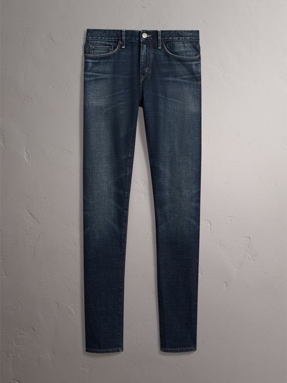 Skinny Fit Brushed Stretch Denim Jeans in Vintage Blue - Men | Burberry - cell image 3