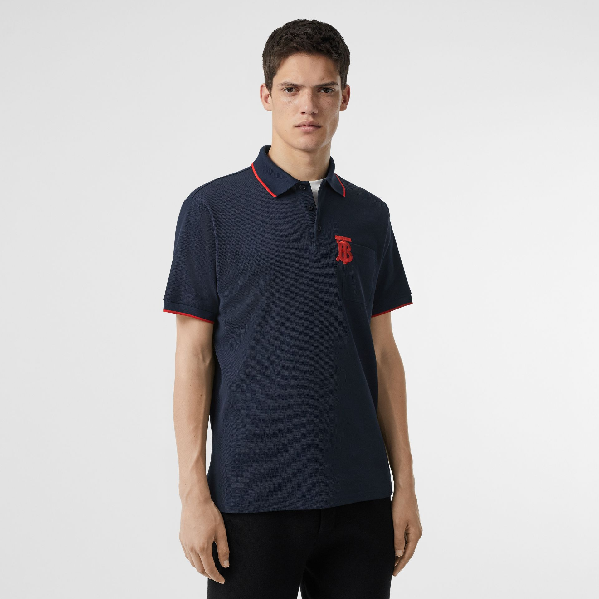 Monogram Motif Tipped Cotton Piqué Polo Shirt in Navy - Men | Burberry Hong Kong - gallery image 0