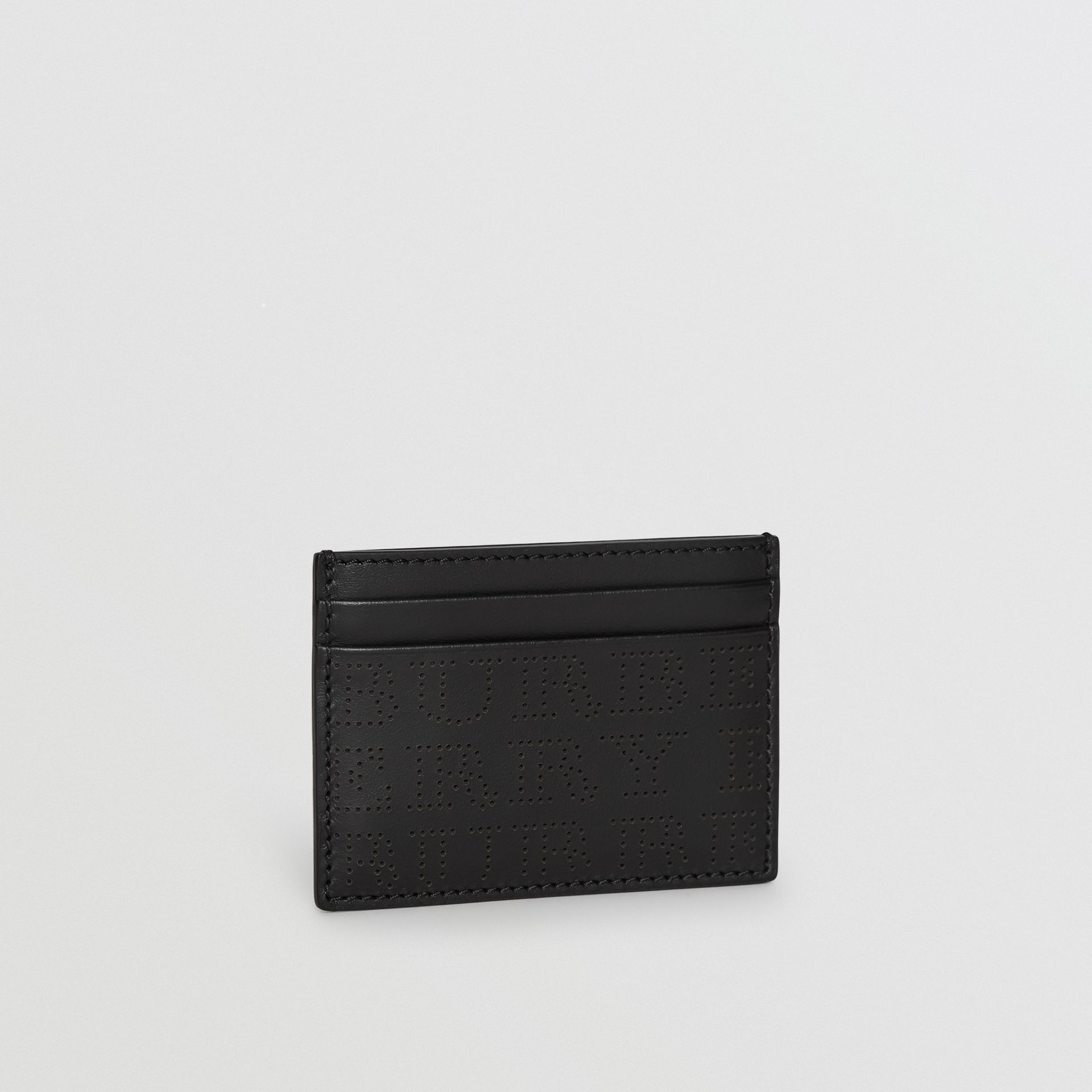 Perforated Logo Leather Card Case in Black - Men | Burberry - gallery image 4