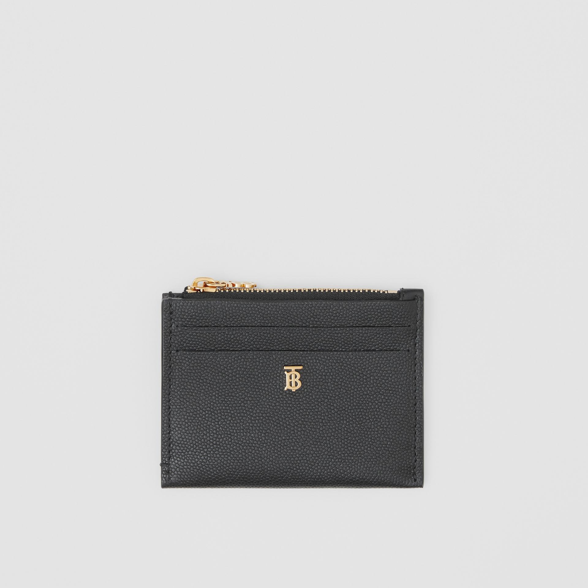 Monogram Motif Grainy Leather Zip Card Case in Black - Women | Burberry - gallery image 0