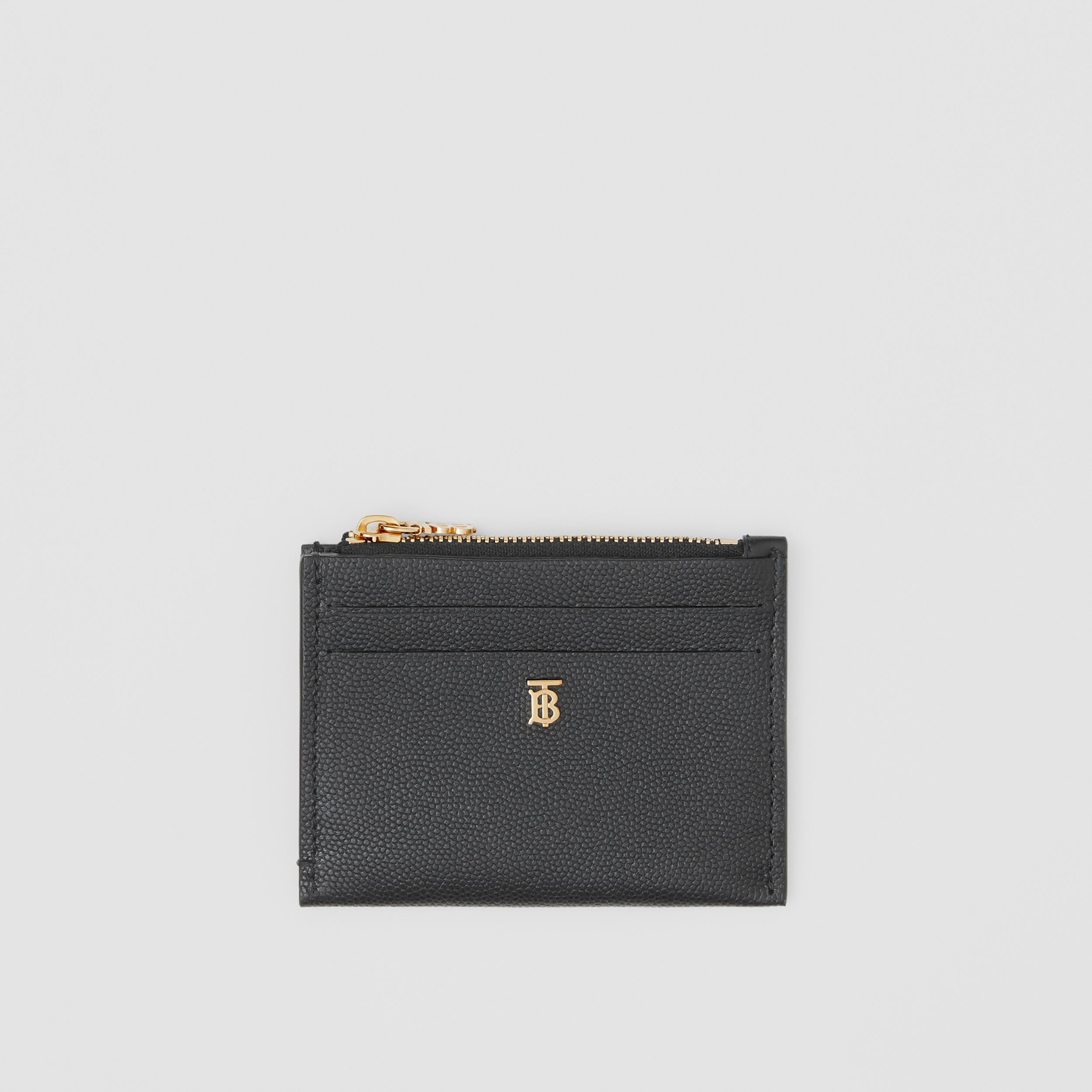 Monogram Motif Grainy Leather Zip Card Case in Black - Women | Burberry - 1