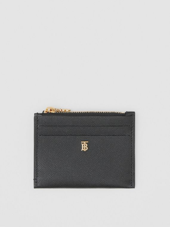 Monogram Motif Grainy Leather Zip Card Case in Black