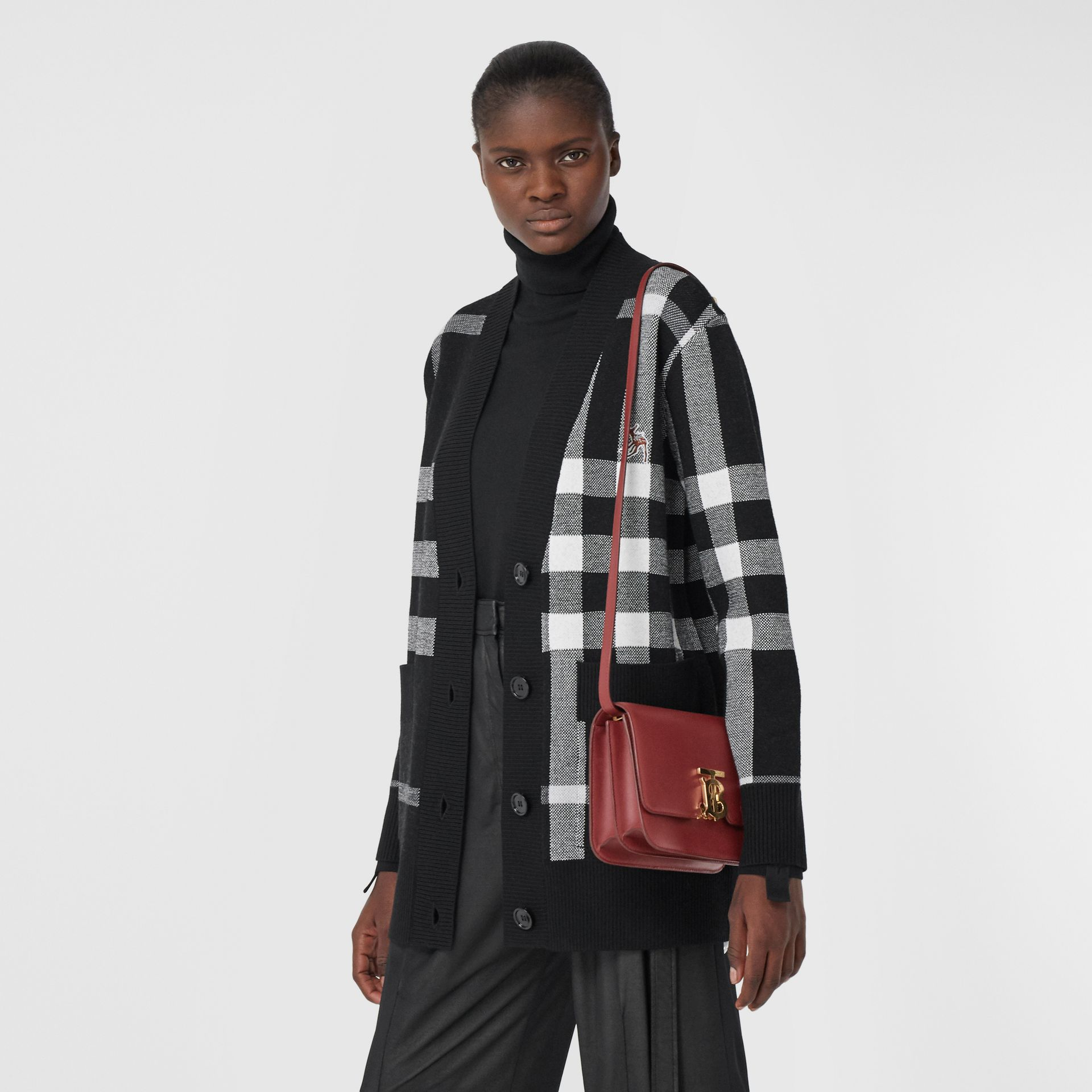 Small Leather TB Bag in Dark Crimson - Women   Burberry - gallery image 8