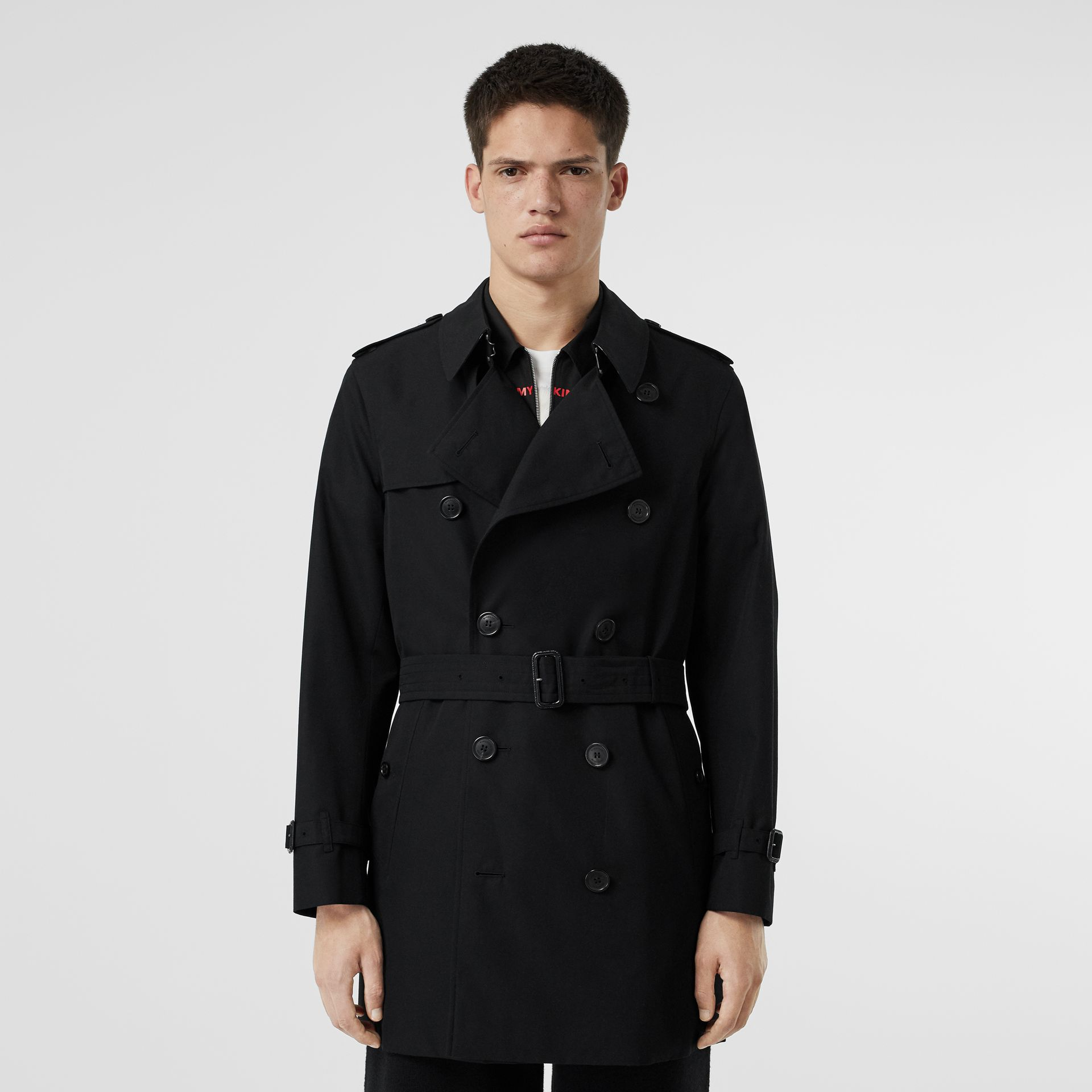 Cotton Gabardine Trench Coat in Black - Men | Burberry - gallery image 6