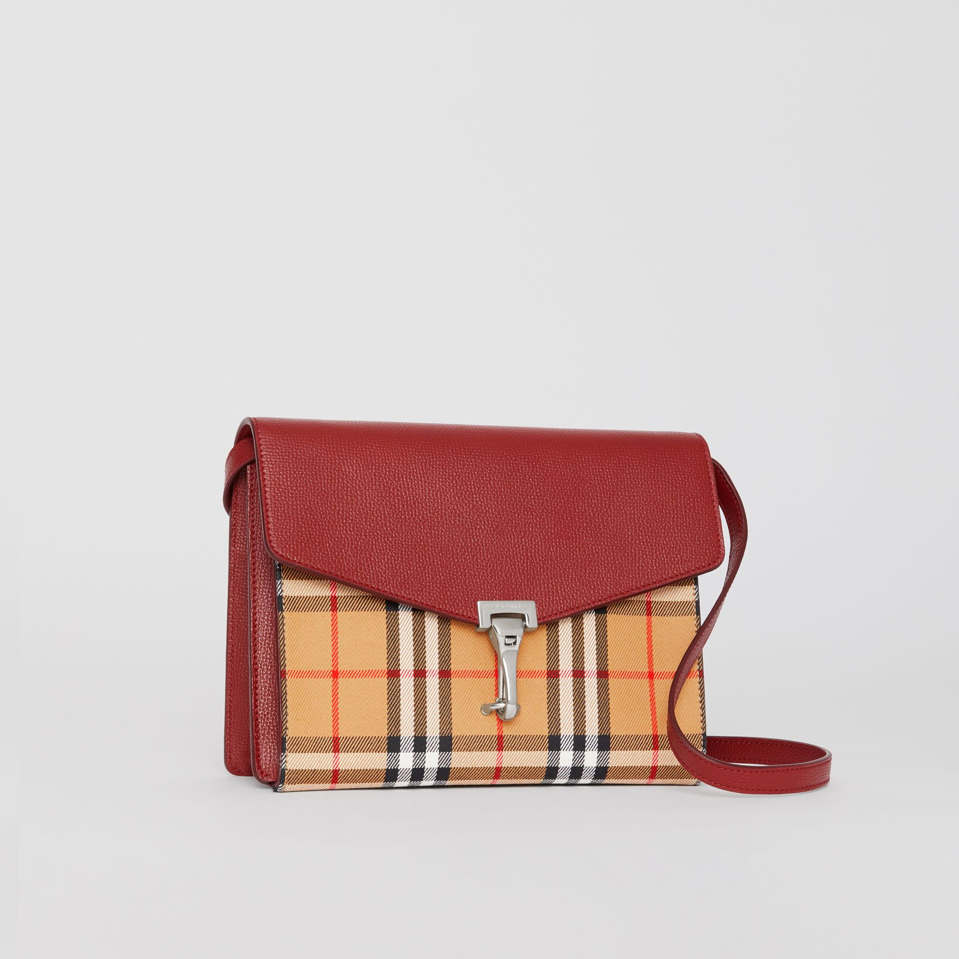 Small Vintage Check and Leather Crossbody Bag in Crimson - Women | Burberry Australia - gallery image 6