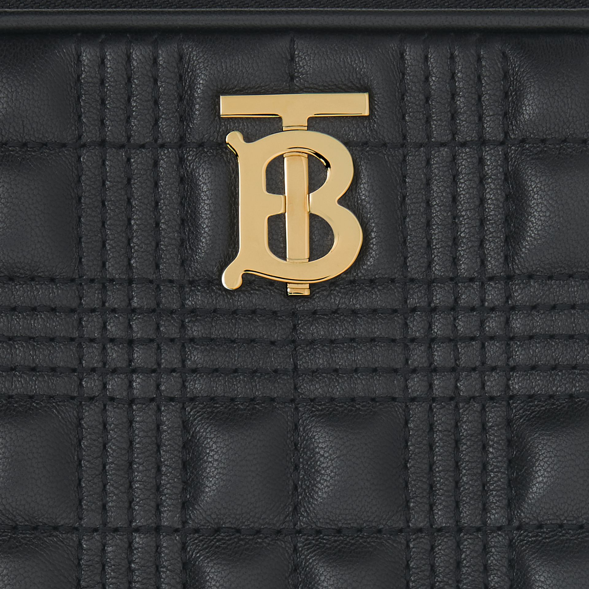Small Quilted Check Lambskin Camera Bag in Black - Women | Burberry - gallery image 1