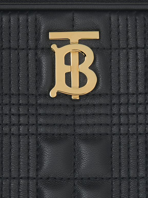 Small Quilted Check Lambskin Camera Bag in Black - Women | Burberry - cell image 1