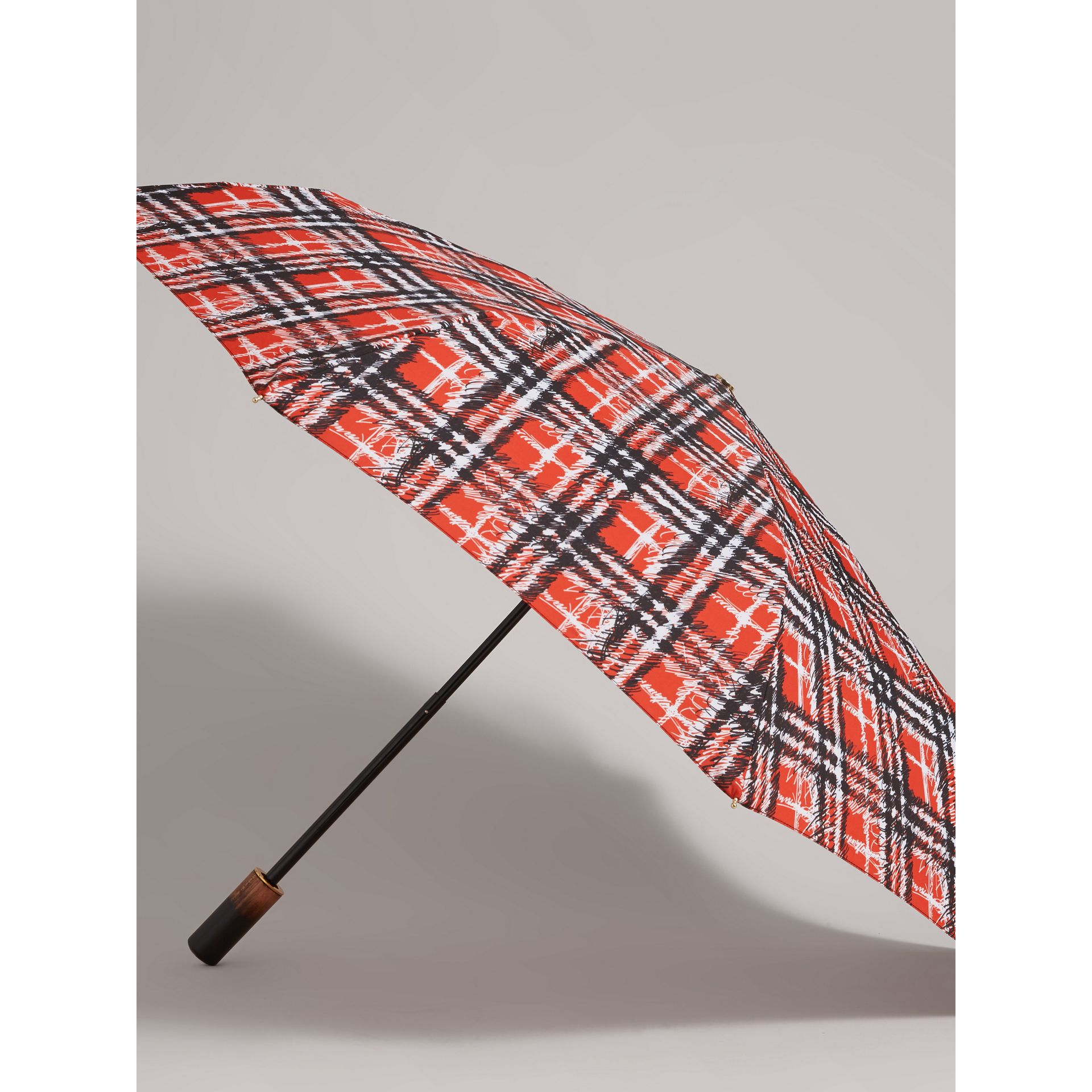 Scribble Check Print Folding Umbrella in Red | Burberry - gallery image 3