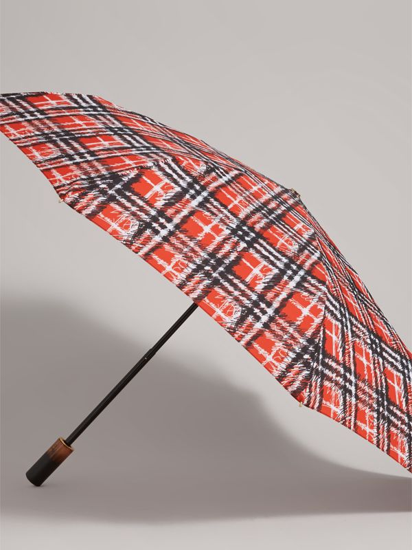 Scribble Check Print Folding Umbrella in Red | Burberry - cell image 3