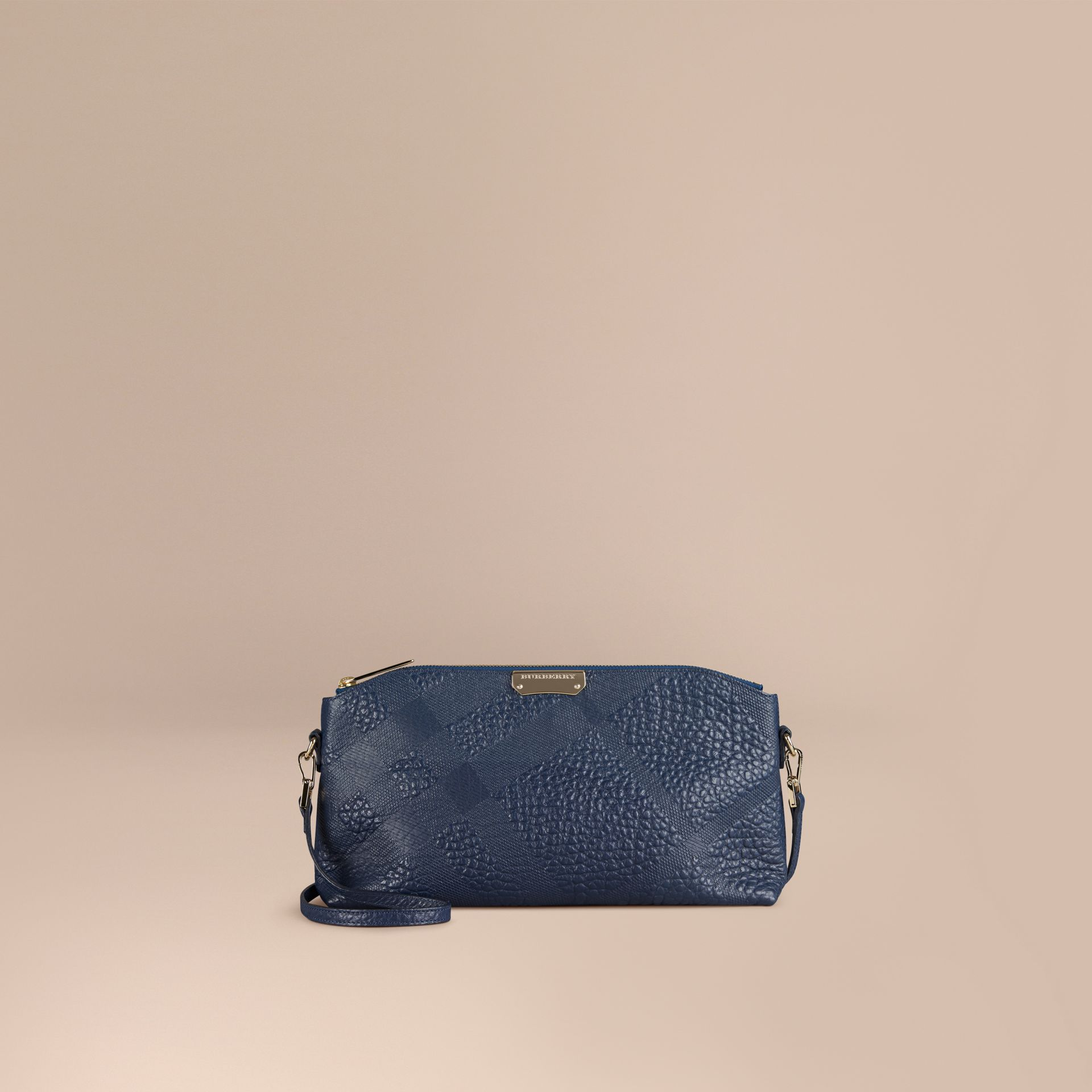 Small Embossed Check Leather Clutch Bag in Blue Carbon - gallery image 1