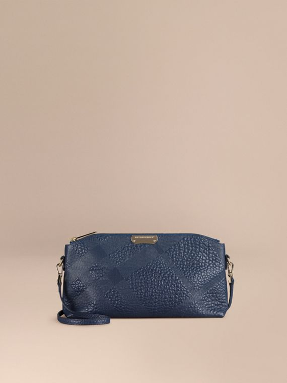 Small Embossed Check Leather Clutch Bag Blue Carbon