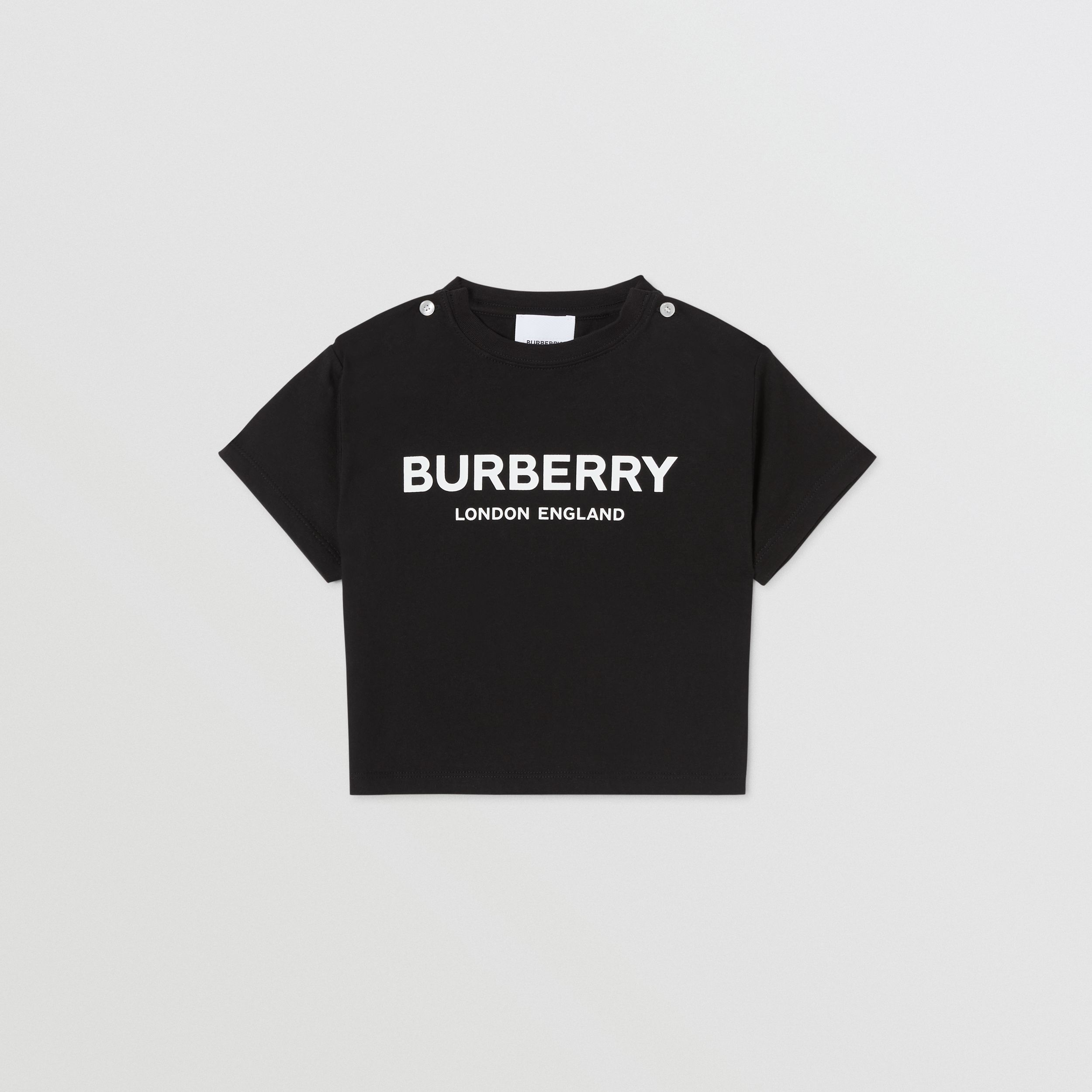 Logo Print Cotton T-shirt in Black - Children | Burberry United Kingdom - 1