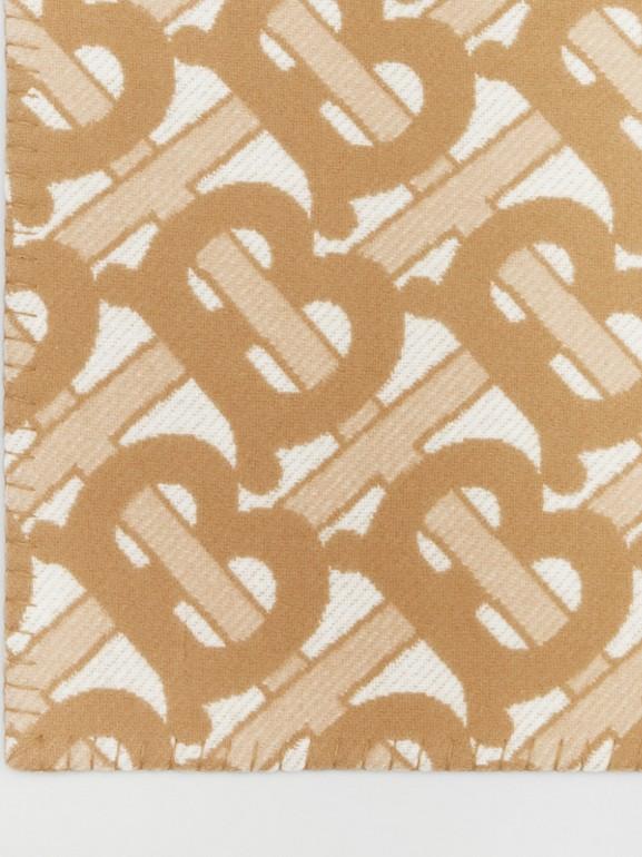 花押字圖案美麗諾羊毛喀什米爾毛毯 (淺沙色) | Burberry - cell image 1