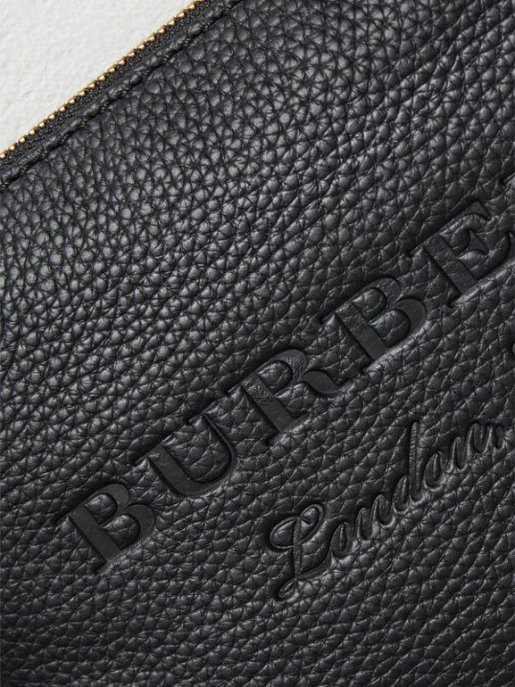 Medium Embossed Leather Zip Pouch in Black | Burberry - cell image 1