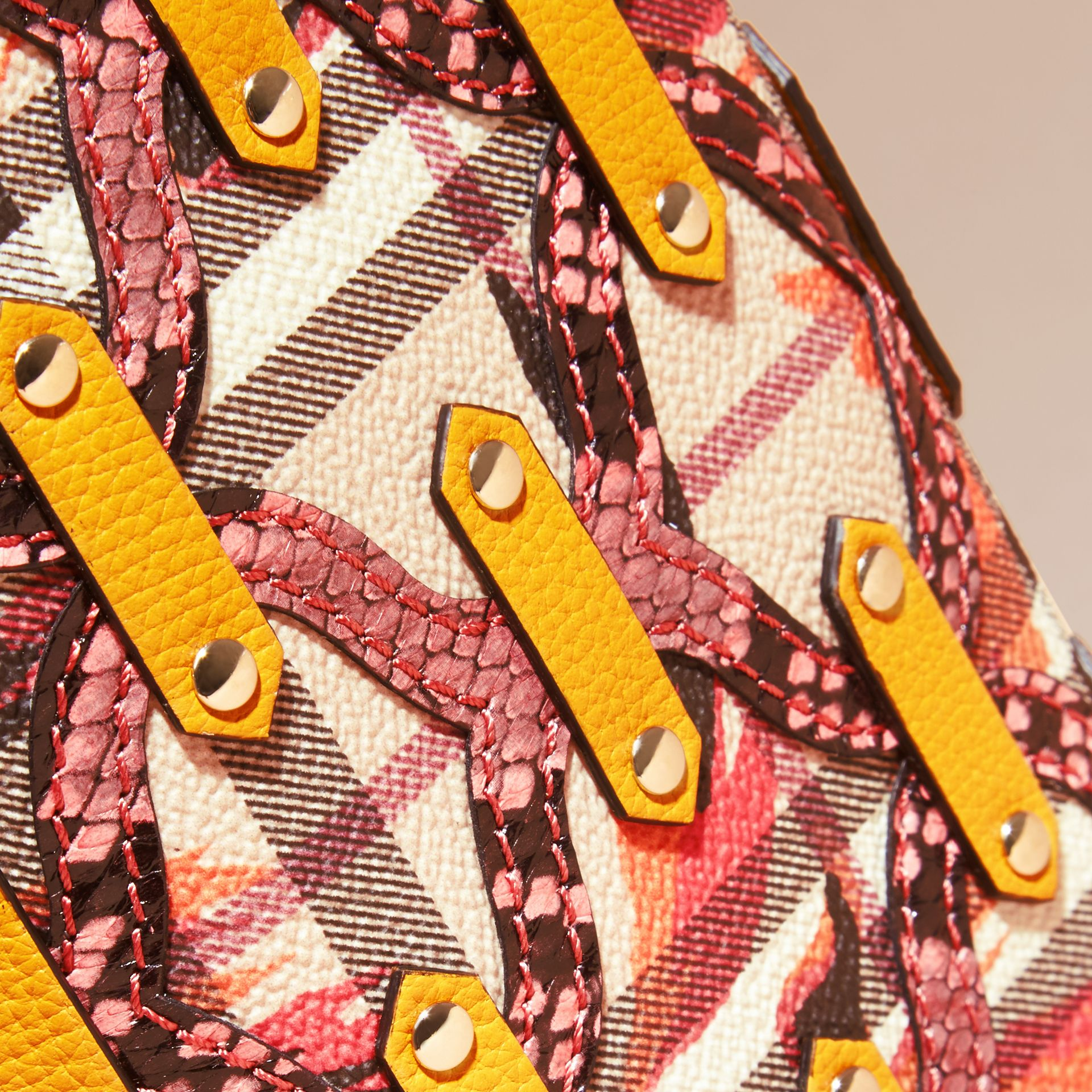 Snakeskin Appliqué Peony Rose Print Haymarket Check Continental Wallet in Larch Yellow - gallery image 2