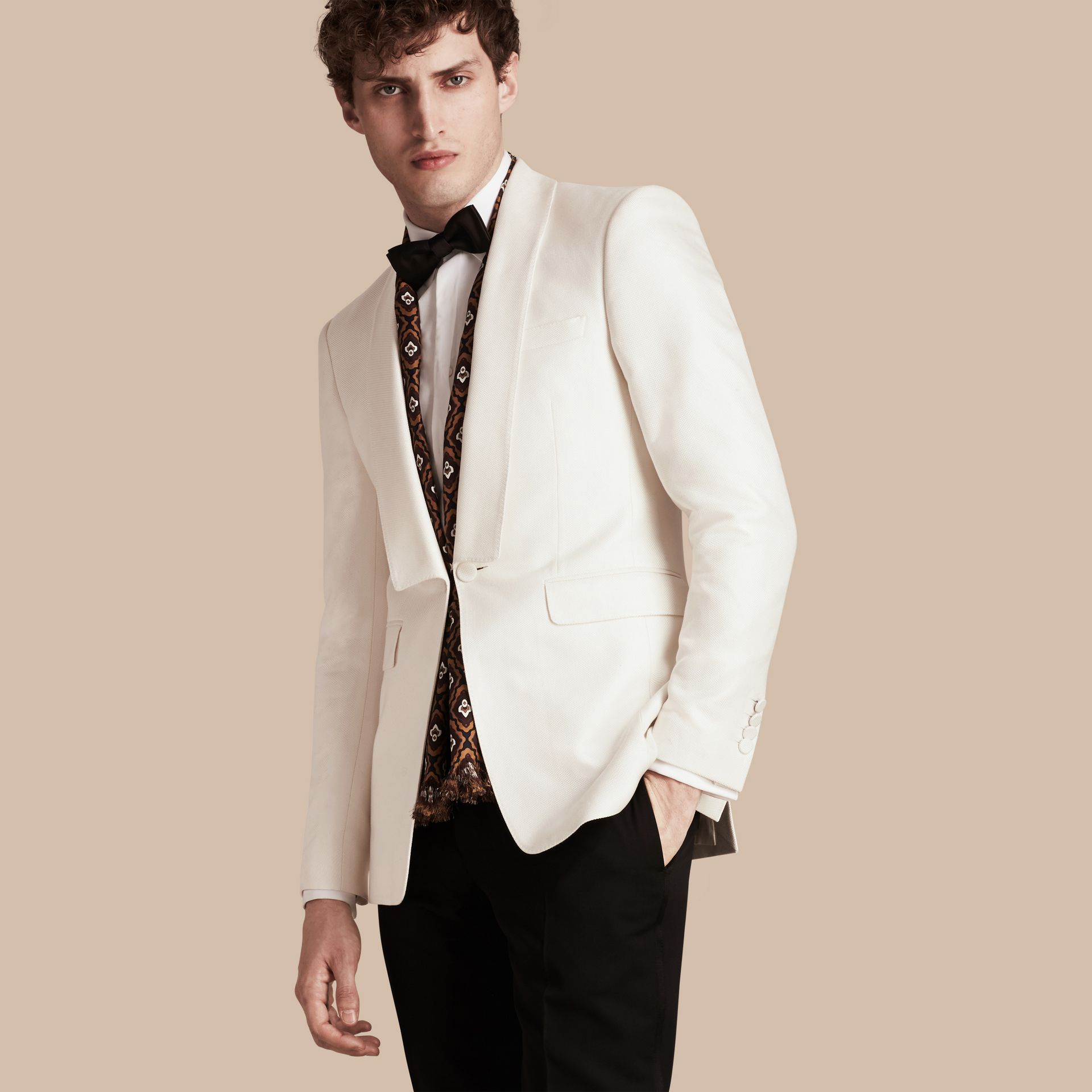 Natural white Slim Fit Cotton Silk Half-canvas Tuxedo Jacket - gallery image 1