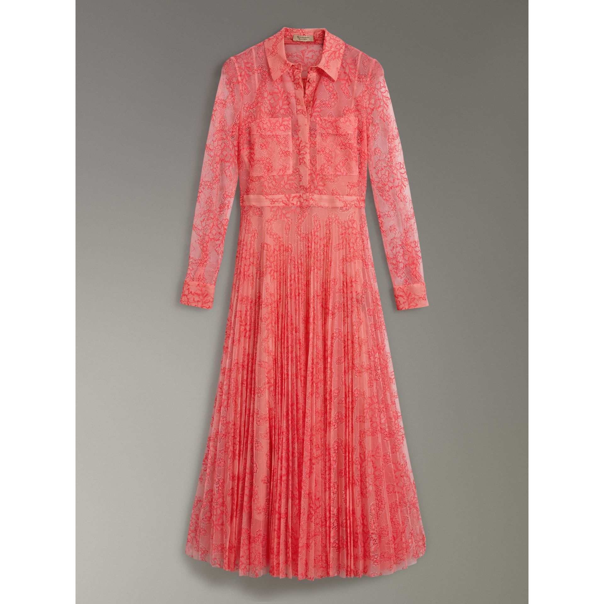 Pleated Lace Dress in Pale Apricot/coral - Women | Burberry United Kingdom - gallery image 3