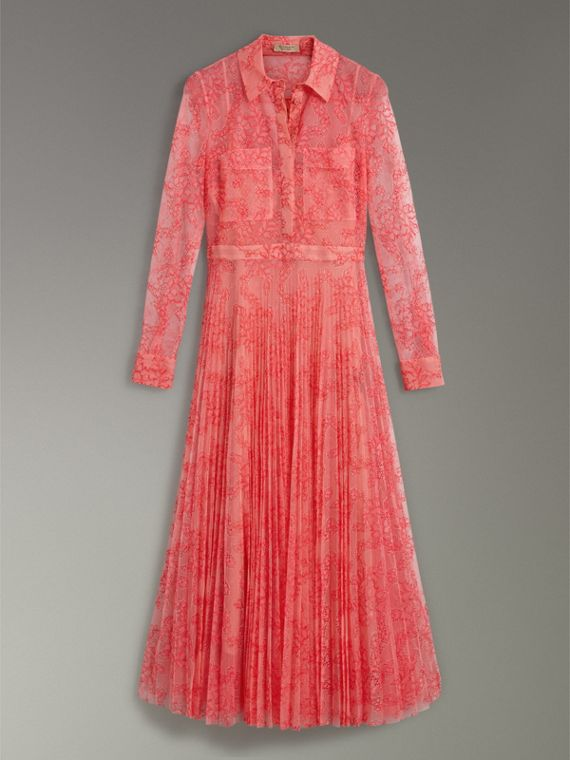 Pleated Lace Dress in Pale Apricot/coral - Women | Burberry Singapore - cell image 3